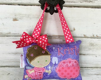 Personalized Tooth Fairy Pillow, Girls Custom Tooth Pillow