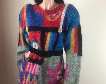 bee59eb9f2c Bright 80s Mohair Jumper Sweater   Mini Dress. Fun Kitsch Australiana. The  Castle