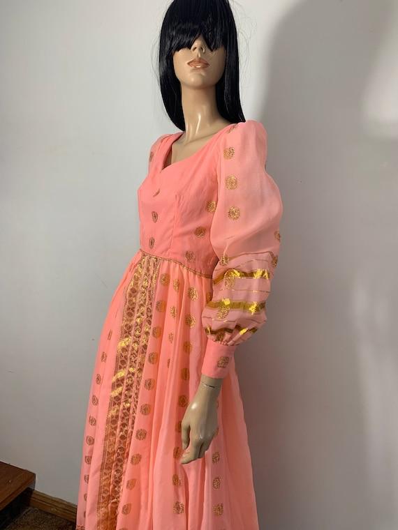 Vintage 60s 70s pink mini dress  pink ruffle dress  vintage mini  silver gold metallic thread bow print  sparkly glitter hol