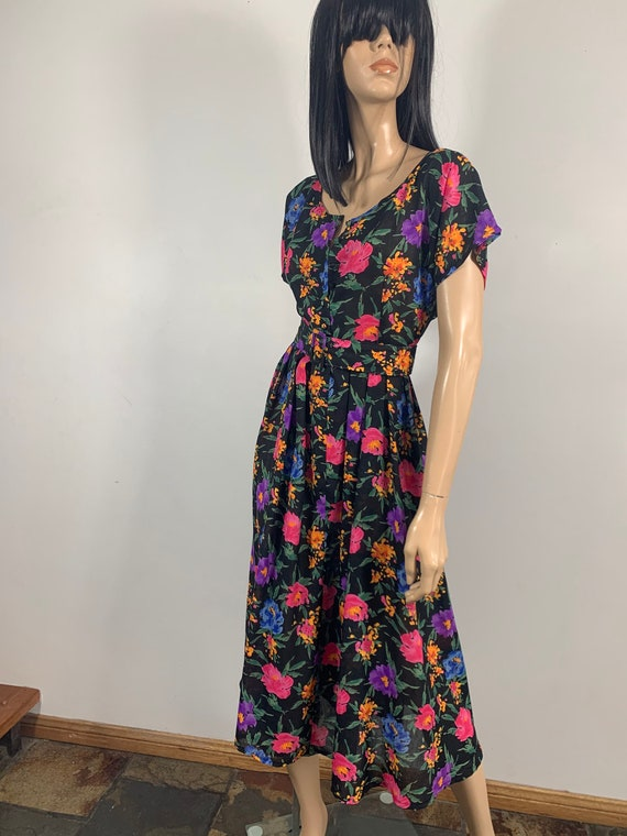 80s Floral Day Dress | Size M-L - image 3