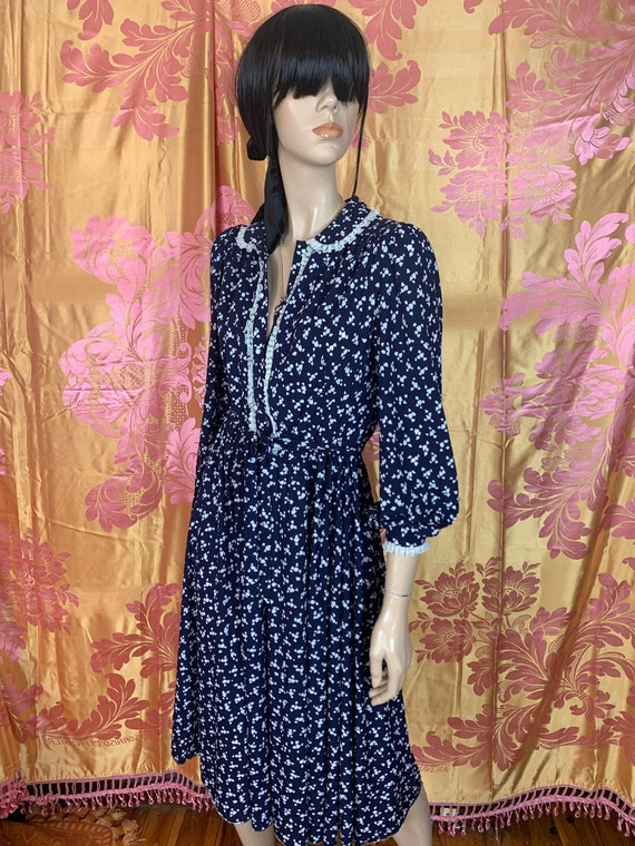 70s/80s Navy Blue Floral secretary dress | casual