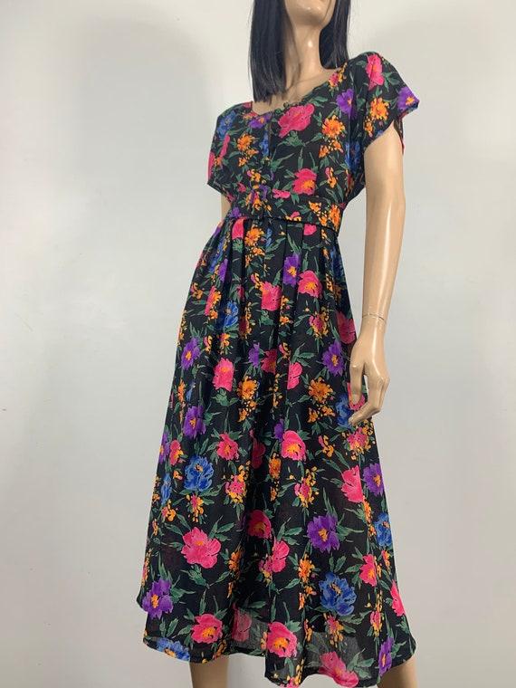 80s Floral Day Dress | Size M-L - image 4