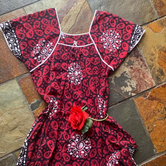 70s 80s Batik Tropical Kaftan Dress
