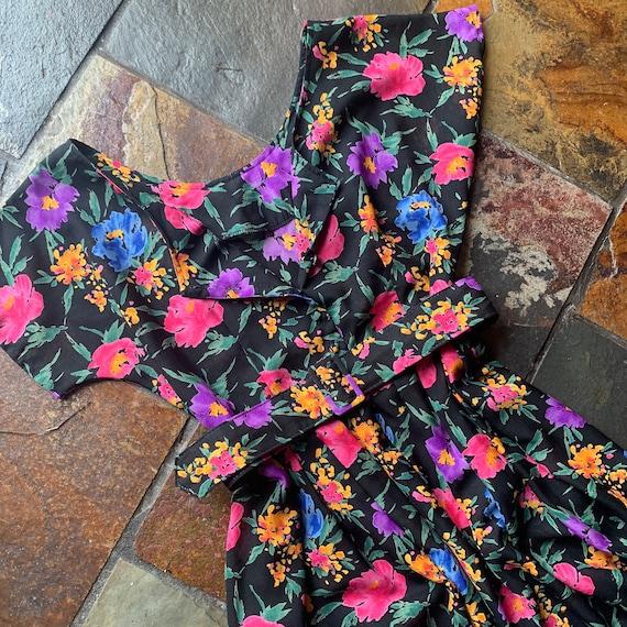80s Floral Day Dress | Size M-L