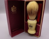 Vintage Kent Visage V20 Pure Bristles Shaving Brush, Antique Ivory Composite Handle in Original Box Made in England