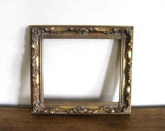 Vintage Gold Frame, French Baroque Style. Boho, 15 X 13, Ornate Wood Frame  With Gold Gesso, Victorian Chic Wall Decor, Gold Frame