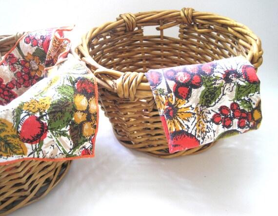 Pair Baskets Natural 10 Inch Round Wicker Baskets   Etsy