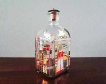 Danish Holme Gaard Decanter Christmas Glass Made in Denmark Cork Stopper Vintage HolmeGaard, Xmas Decanter, Children Baking, Rocking Horse
