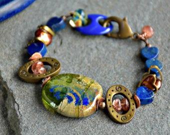 beaded lapis blue and olive green mixed media boho style denim days bracelet