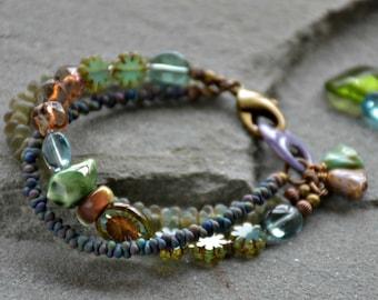 boho style, multi strand, blue green, mixed media art you can wear chickadee bracelet