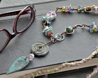 boho style, mixed media art you can wear, sugar skull, artisan beads, wire wrapped, good juju necklace