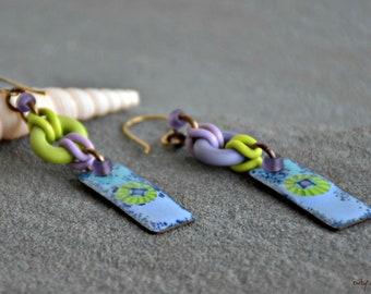 mixed media art jewelry lavender and lime mojito bohemian assemblage