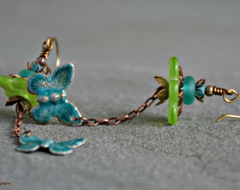 mixed media art jewelry bohemian assemblage green and teal unique butterfly handmade flutter earrings
