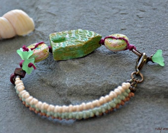mixed media art you can wear bohemian assemblage seafoam green and sand whimsical cabana bracelet nature lover beachcomber treasure