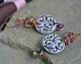 ultra violet boho style, mixed media art you can wear, gecko dangle earrings