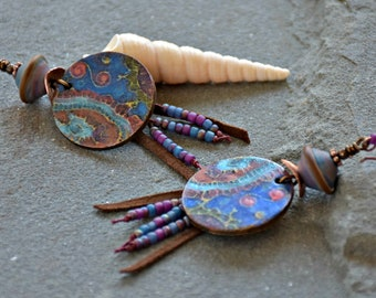 glass and polymer clay art wire wrapped bohemian statement shoulder dusters dreamcatcher earrings . . .