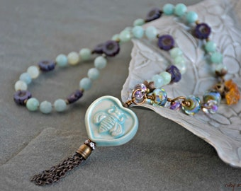so boho, mixed media art, gypsy assemblage, light blue and ultra violet, handmade, unique, nature lover, bee kind necklace