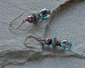 so boho glass art wire wrapped dangle drops of jupiter earrings . . .