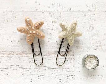 Felt starfish planner clips, bookmarks