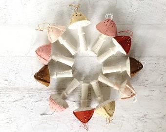 Hand-stitched felt mushroom ornament