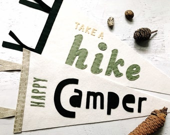 Happy Camper, Take a Hike Pennants, Felt Pennants, Childs Wall Decor, Photo Prop