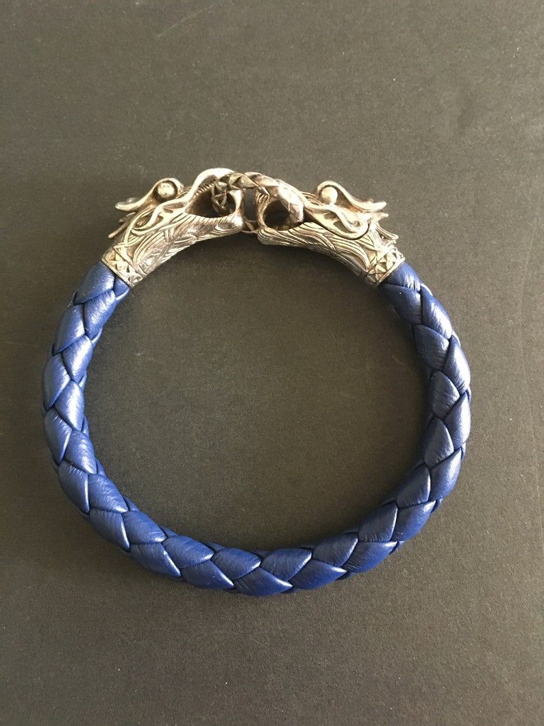 83eabf71240d2 Sterling Dragon Head and Leather Bracelet Double Dragon Head