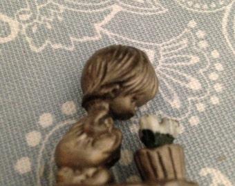 Hallmark Vintage Pewter Miniature Sweet Little Girl Smelling Flowers