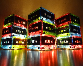 Multi-Colored 3-Tier Cassette Tape Lamp w/Battery Powered LED Lights