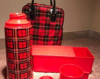 6-pc vintage Aladdin Plaid lunch thermos picnic set