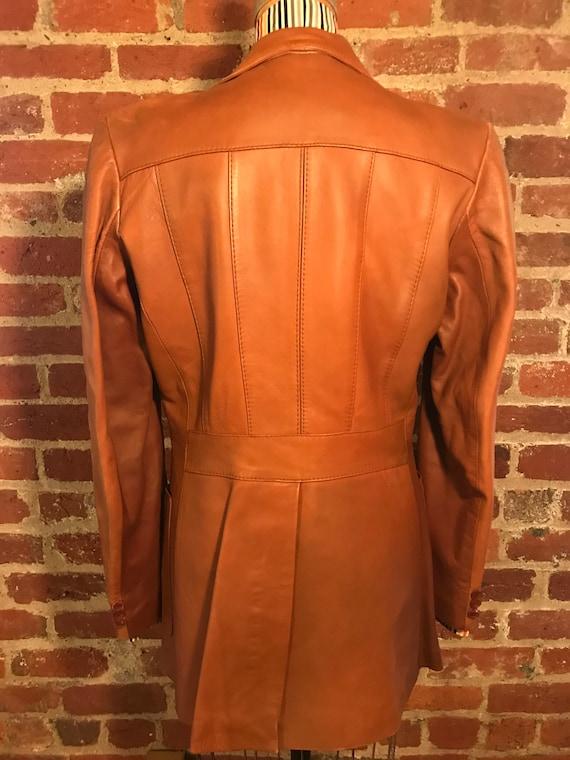 1970's brown leather tailored jacket blazer - sz … - image 4