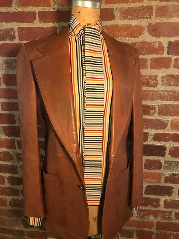 1970's brown leather tailored jacket blazer - sz 3
