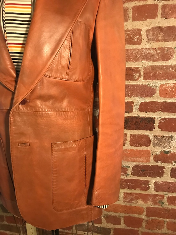 1970's brown leather tailored jacket blazer - sz … - image 3