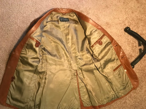 1970's brown leather tailored jacket blazer - sz … - image 7