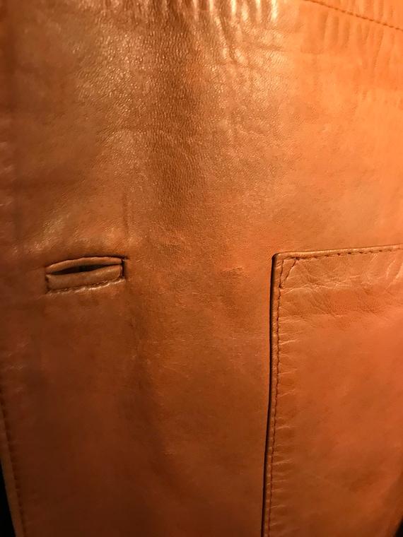 1970's brown leather tailored jacket blazer - sz … - image 6