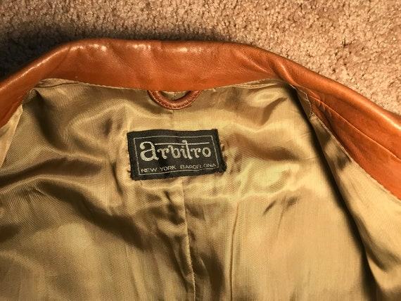 1970's brown leather tailored jacket blazer - sz … - image 8