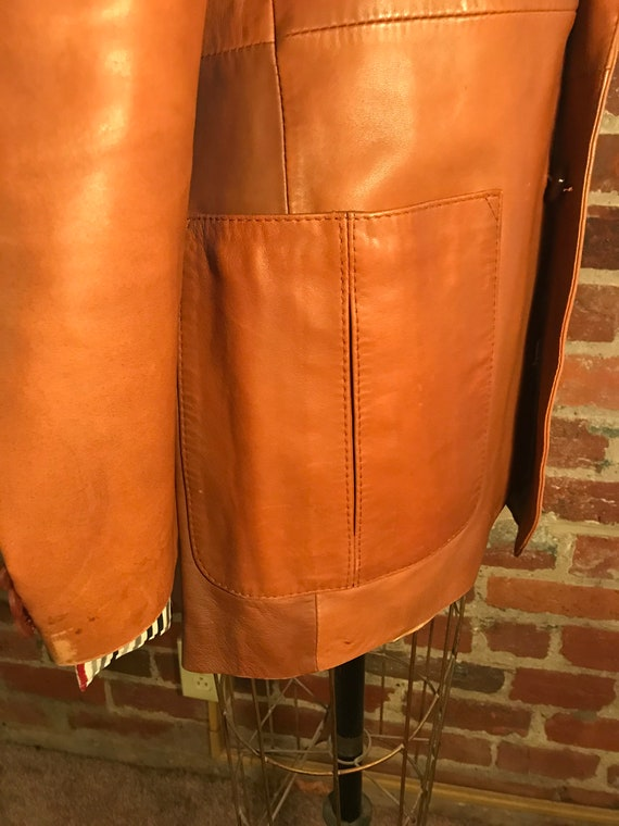 1970's brown leather tailored jacket blazer - sz … - image 5