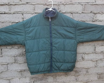 7ec1d81606af Vintage Jacket Nike Green Puffer 1990s Athletic XL Oversized Reversible Sports  Athletic Warm Relaxed Casual Mens Camping Beach Quilted Cool