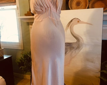 Vtg 40s Pink Satin Rayon Slip Nightgown Chemis Rhythm Lingerie 36