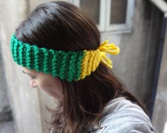 Baylor Bears Gold Solid And Green Repeat Logo Headband Set