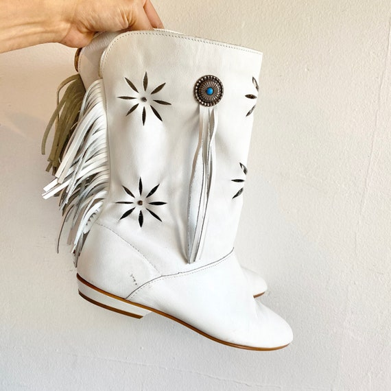 White Moccasin Concho Boots