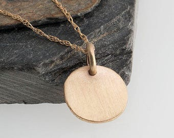 Rustic Nugget Solid Gold Necklace, 14K Gold Necklace, 14K Gold Nugget Necklae, Dainty Necklace, Minimal necklace, Simple Necklace