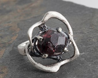 Large Red Garnet Ring, Sterling Silver, Artisan Ring, Handmade Ring, Engagement Ring, Wedding Jewelry, Statement