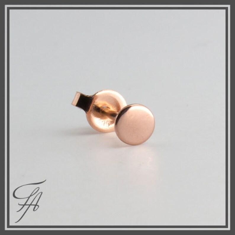 Polka Dot Rose Gold Circle Stud Solid Gold Stud Tiny Earring Rose Gold Stud Earring Gold Stud Earring Gold Stud Rose Gold Earring