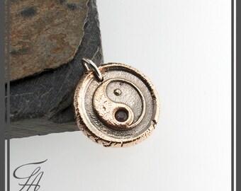 Yin Yan Charm Necklace, Wax Seal Pendant Necklace, Yin - Yan Necklace, Bronze Pendant , Genuine Stone, Sapphire Stone, Handmade Necklace