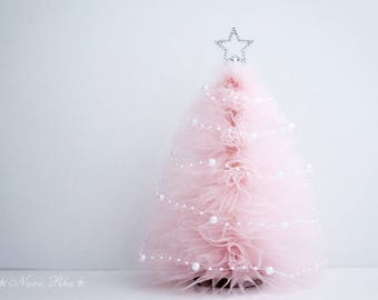 Tulle Christmas Tree, Pink Christmas Tree, Christmas Gifts, Holiday Tree,  Silver Star, Shabby Decor, Holiday Decor, Home Decor