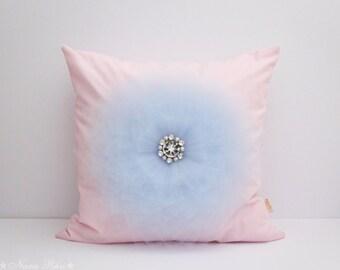 Pink Nursery Pillow Decorative Pillow Flower Pillow Cover Pink and Blue Shabby Pillow Nursery Pillow Throw Pillow Pink Pillow Cushion Cover
