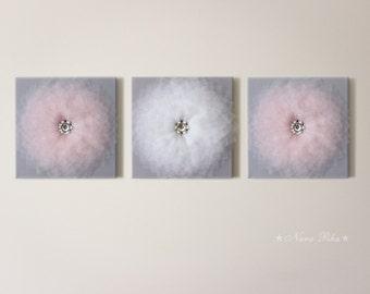 Baby Room, Nursery Decor,  Pink Grey Nursery, Flower Wall Art, Home Decor, Wall hangings, Nursery Wall Art, Flower Art, Set of Three, 12X12