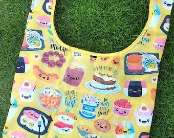 "Yellow Reusable Tote Bag Hawaii Foodie / 26""x20""x5"""