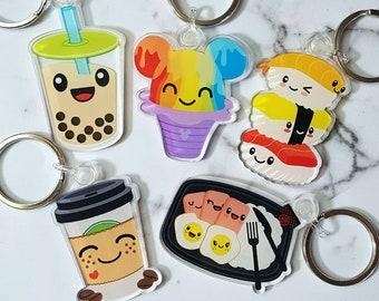 "Keychains - 2"" Cute Acrylic Double Sided - Sushi Mickey Shave Ice Spam Eggs Rice Milk Tea Boba Coffee"