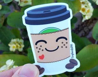 "Coffee Sticker Cute Kawaii 2.0"" x 2.75"""